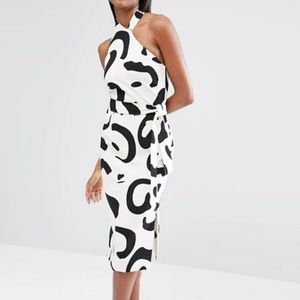 Lavish & Alice Monochrome abstract  halter dress